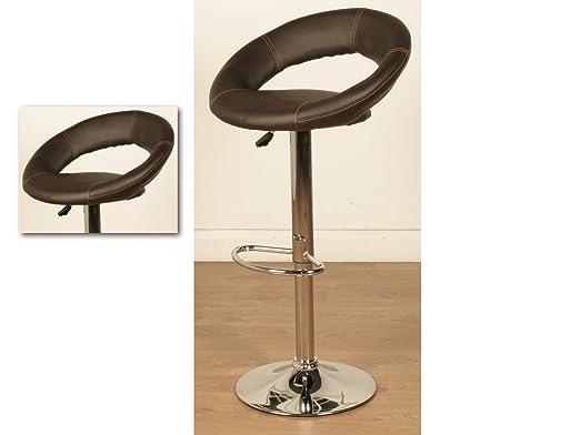 Oliver taburetes de bar–elevación de Gas taburete de Bar–acabado: marrón de piel sintética (conjunto de 2)–comedor–muebles de casa Bar
