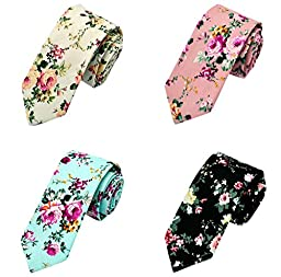 Gellwhu Men\'s Fashion Causal Cotton Floral Printed Linen Tie Necktie (4 Colors)