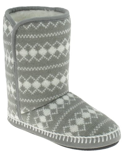 Capelli New York Diamond Printed Knit Boot With Fold Down Ladies Indoor Slippers Grey 9/10 (Diamond New York compare prices)