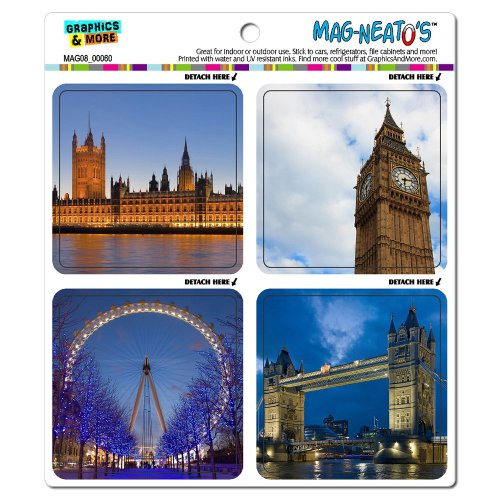 Graphics And More London England Fun Big Ben Great Britain Mag-Neato'S Automotive Car Refrigerator Locker Vinyl Magnet Set front-571534
