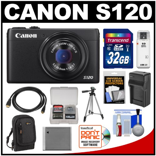 Canon PowerShot S120 Wi-Fi Digital Camera (Black) with 32GB Card + Case + Battery & Charger + Tripod + HDMI Cable + Kit