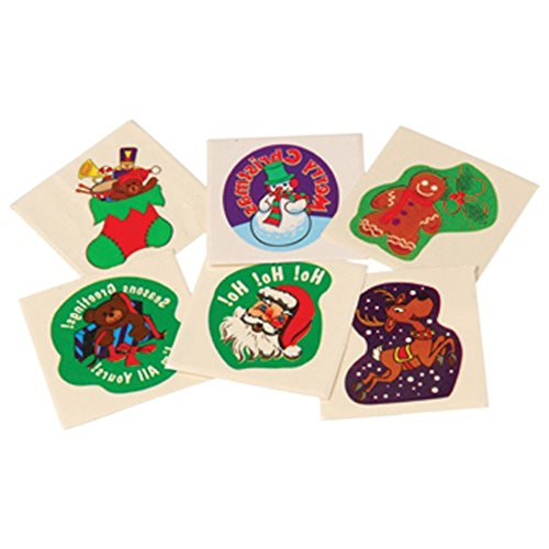 "Lot Of 144 Assorted Christmas Theme Temporary Tattoos - 1.5"" - 1"