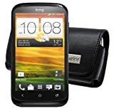 Original MTT ® / for HTC Desire X / Genuine Leather Horizontal Case - With Locked Belt Clip / Cover / Quality Slip Pouch / Soft Phone Bag (Luxurious - Premium Quality)