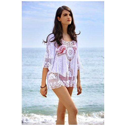 ab67cfac834 MG Collection® White Cotton Open Crochet Design Swimsuit Cover Up Beach  Shirt