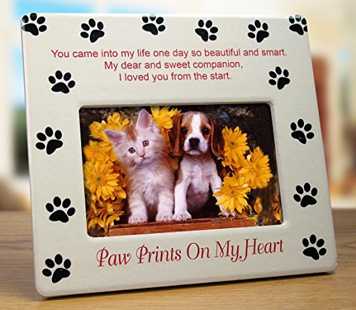Pet Memorial Picture Frame - Paw Prints on My Heart - Pet Sympathy Gift - Pet Bereavement Gift - Pet Frame - Pet Memorial Plaque (Dog Picture Frame Memorial compare prices)