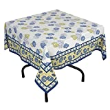 "Handmade Indian 54"" Square Tablecloth - Blue, Green And Yellow Floral Cotton"