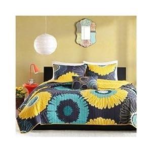 modern coverlet bed set teen bedding modern teal blue yellow floral flowers daisey. Black Bedroom Furniture Sets. Home Design Ideas