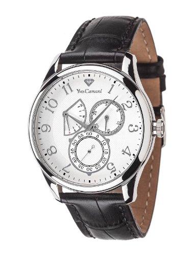 Yves Camani - YC1056-A - Roubion - Montre Homme - Quartz Analogique - Cadran Argent - Bracelet Cuir Noir