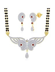"MGold Valentine 18 Karat Gold Plated Cubic Zirconia ""Vartika"" Mangalsutra Earrings Set"