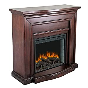 Pleasant Hearth Colby Mahogany Electric Fireplace Ventless Fireplaces