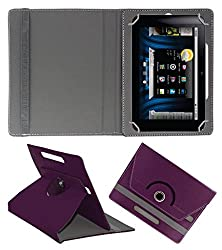ACM ROTATING 360° LEATHER FLIP CASE FOR BASLATE 7QI TABLET STAND COVER HOLDER PURPLE