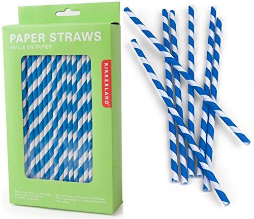 Kikkerland Papierstrohhalme mit blauen Streifen 144 Stück