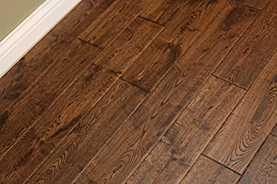 "Elk Mountain Oak Gunstock Dark 3/4 x 5"" Hand Scraped SOLID Hardwood Flooring FH261 SAMPLE"