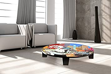 """TAF DECOR """"Don't Be Cold... Show Me Your Soul"""" Art Coffee Table, 35"""" X 35"""" X 7.5"""", Red/Black/White/Navy/Orange,"""