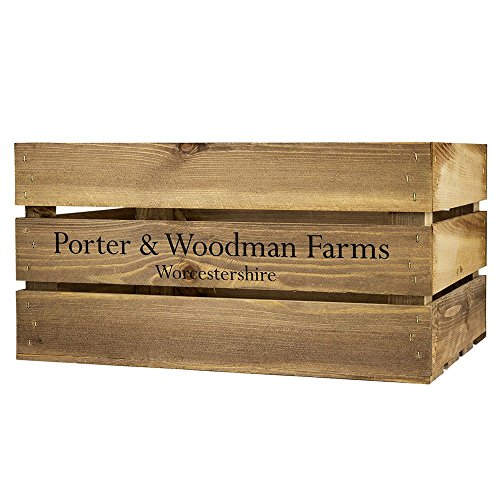 Porter and Woodman - Cassa grande in legno grezzo con stampa P&W Farms