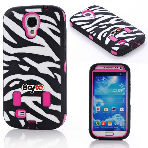 Bayke Brand Premium Armorbox Armor Defender Case for Samsung Galaxy S4 Galaxy SIV i9500 Fashion Zebra Combo Print High Impact Dual Layer Hybrid Full-body Protective Case with Built-in Screen Protector (Hot Pink) at Amazon.com
