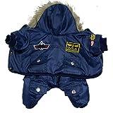 Hund-Mantel-Jacke Warm Winter USA AIR FORCE Wasserdicht hoody Kleidung (Blau M)