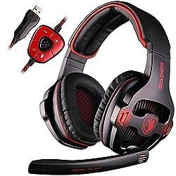 SADES SA903 7.1 Surround Pro USB PC Stereo Gaming Headset with High Sensitivity Mic Headband Headphone with Red lighting(Black)