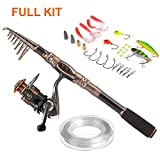 PLUSINNO® Spin Spinning Rod and Reel Combos Carbon Telescopic Fishing Rod with Reel Combo Sea Saltwater Freshwater Kit Fishing Rod Kit(2.1M 6.89Ft Fishing Rod + Reel)