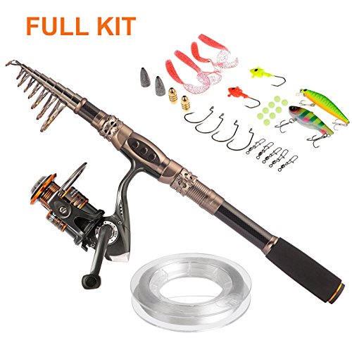 PLUSINNO® Spin Spinning Rod and Reel Combos Carbon Telescopic Fishing Rod with Reel Combo Sea Saltwater Freshwater Kit Fishing Rod Kit(3.3M 10.83Ft Fishing Full Kit) (Telescoping Fishing compare prices)