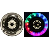 LED INLINE WHEELS 64mm 82a Skate Rollerblade Ripstik Luggage LIGHT UP 2-Pack w/ Bearings