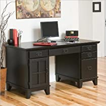 Big Sale Best Cheap Deals Home Style 5181-18 Arts and Crafts Double Pedestal Desk, Black Finish