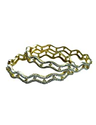 Sheetal Jewellery Silver & Golden Brass & Alloy Bangle Set For Women - B00TIH46D8