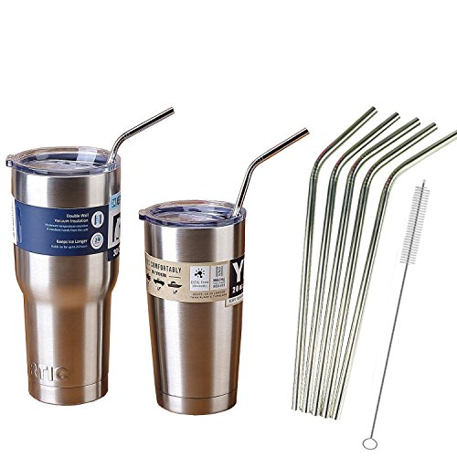 "10.5"" Extra Long Stainless Steel Drinking Straws For 20 oz & 30 oz YETI or RTIC Rambler Tumbler Cups By Ehme Brand,Free Cleaning Brushes Included 5 Pack (Cups Not Included)"