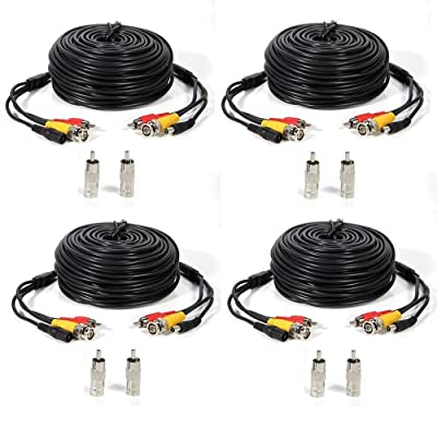 Masione 4 PACK 50ft security camera video audio power cable wire cord for cctv dvr surveillance system