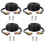 Cable Masione de video y audio de 50 pies para sistemas de vigilancia CCTV DVR, paquete de 4