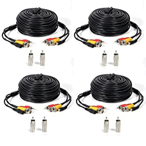 ATC 4 PACK 50ft security camera video audio power cable wire cord for cctv dvr surveillance system