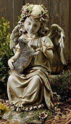 """16"""" Joseph's Studio Angel With Kitten Outdoor Garden Statue"""