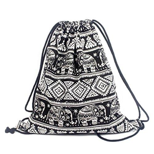 Tempo libero Gym Bag con coulisse zaino modelli geometrici Elephant Viaggi Sport periferia in corso borsa a tracolla escursioni portatile pieghevole per la scuola studentessa