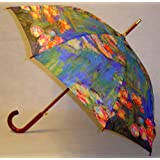 """Waterlilies"" by Monet Full Size Stick Lilies Art Umbrella with Automatic Push Button Opening, Great Gift Idea ~ Fine Art Umbrellas"