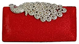 Chicastic Mesh Rhinestone Peacock Hard Box Wedding Cocktail Clutch Purse - Red