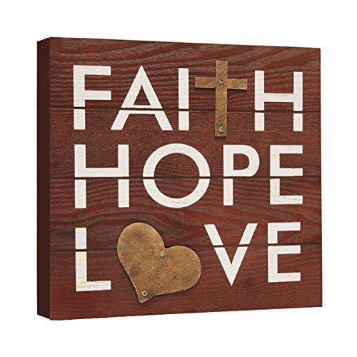 Haven Faith Hope And Love Rustic Plaque 8 Inch By 8 Inch