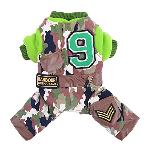 Niceeshop(Tm) Camouflage Style Warm Padded Comfy Dog Pajams Dog Shirt Dog Jumpsuit Pet Dog Clothes (Army Green,Xl)