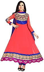 MANMAUJ Women's Georgette Unstitched Dress Material (Multi-Coloured)