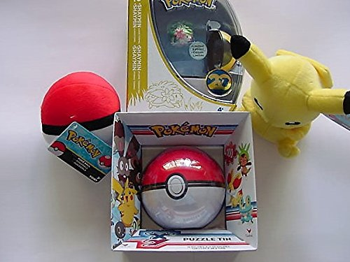 Pokemon Bundle With Pikachu Plush, Pokemon Puzzle in Tin, Poke Ball And Shaymin