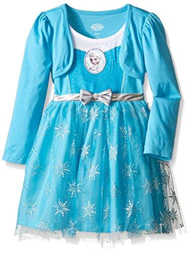 [Disney Little Girls' Long Sleeve Elsa Dress, Blue, 4T] (Make An Elsa Dress)