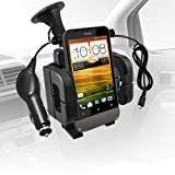 ONX3 HTC ONE V Windscreen Dash Suction Mount Car Holder + Micro USB Car Charger