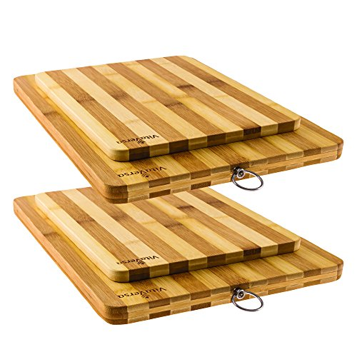 Beautiful Bamboo Wood Cutting Board & Serving Platter Set: Thick & Durable 2-Piece Wooden Bread Boards/Cheese Plates- 2 Pack (4) (Wustof 35 Block compare prices)