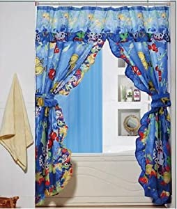 Troplical fish ocean double swag valance tie for Fish curtains for windows
