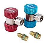 OrionMotorTech Adjustable R134A Quick Coupler Connector Adapter with 1/4 SAE Fitting for High Low AC HVAC Manifold Gauge & Hose Set