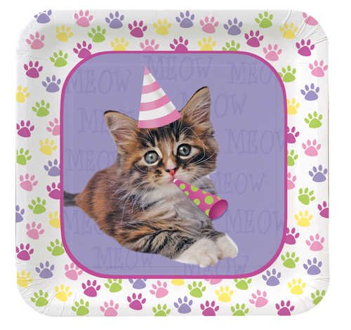 Creative Converting Purr-Ty Time Square Dessert Plates, 8-Count