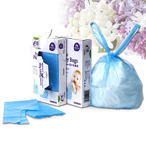 ELSKY Scented Nappy Bags ,Disposable Diaper Sacks(Blue / 90 Count) (Compostable Diaper Inserts compare prices)