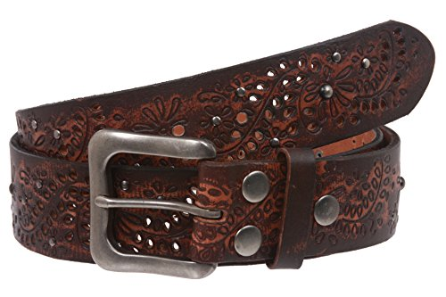 Snap On Embossed Vintage Cowhide Full Grain Leather Floral Rivet Perforated Belt Size: 32 Color: Brown