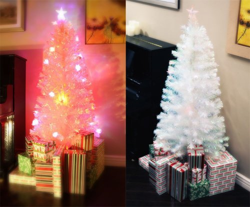 6.5 Ft Pre-Lit Multi Color Led Fiber Optic Artificial White Christmas Tree