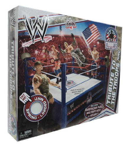 WWE Mattel WWE Wrestling Fan Central Exclusive Tribute To The Troops Ring Includes American Flag, Military Vest Helmet! at Sears.com