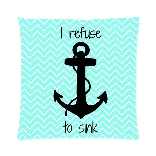 Generic I Refuse To Sink Quote Chevron Retro Vintage Nautical Anchor Infinity Design Square Decorative Throw Pillow Case 16X16 Inch Custom Personalized Zippered Soft Cushion Case Cover For Sofa(One Side) front-13896